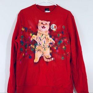 Light Up Cat Sweatshirt Ugly Christmas holiday